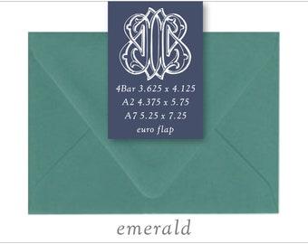 Emerald | 10 Blank Euro Envelopes | A7 • A2 • RSVP