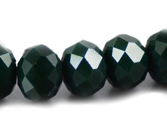 Chinese Faceted Crystal Rondelles in Opaque Dark Forest Green  8x10mm