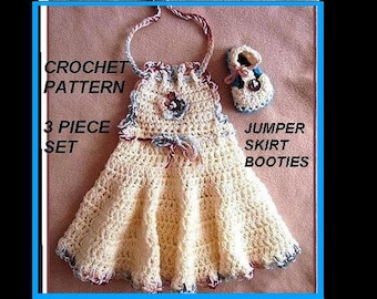 CROCHET PATTERN, Baby Dress and Booties, Girls Dress, newborn to age 12 and larger, number 553