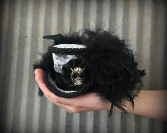 Micro Mini Top Hat, Halloween Owl Mini Hat, Alice in Wonderland, Mad hatter hat, Steampunk Mini Top hat, Mad Tea Party hat, Halloween hat