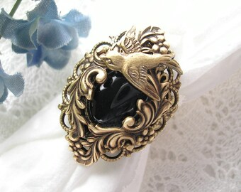 Night Flight Ring- Czech Glass and Antiqued Brass Ring- Morning Glory Designs