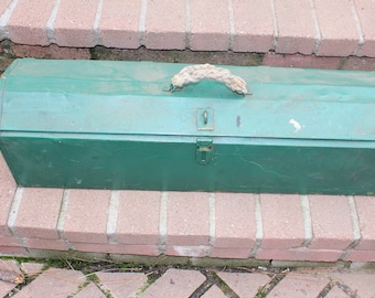 "Vintage Antique 32"" Metal Industrial Carpenters Long Tool Box 32x10x8 Large Vintage Green Metal Tool Box Saw Box Rustic Industrial Decor"