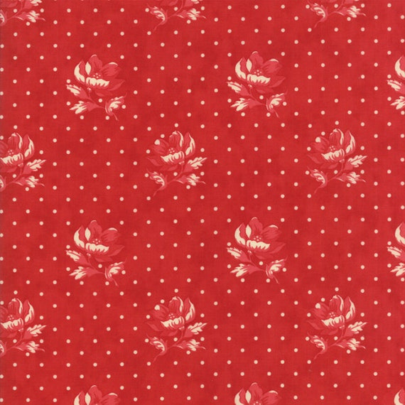 Farmhouse Reds Polka Dots and Floral Tonal by Minick And Simpson. Red And Cream Quilt Supply For Moda Fabric By The Yard 14851 11