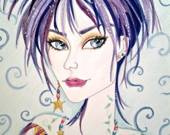 Woman In Purple and Gold ACEO/ATC Artist Trading Card Fantasy Face by Leslie Mehl