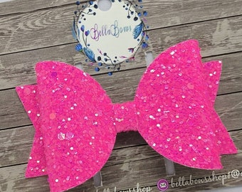 "Hot Pink Glitter Hair Bow-Alligator Clip-Baby Headband-Photo Prop-Chunky Glitter-Toddler Hair Bows-3.5"" Hair bowGlitter Hair Bow"