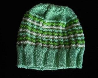 Green striped hat