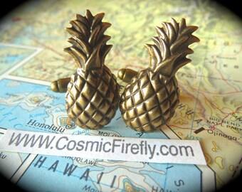 Brass Pineapple Cufflinks Vintage Inspired Gothic Victorian Art Deco Men's Cufflinks Antiqued Brass Cufflinks Tropical Tiki Cufflinks NEW