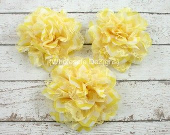 """Clearance Yellow Chevron Chiffon and Lace Flower - 4"""" Full and Fluffy - 4 inches"""