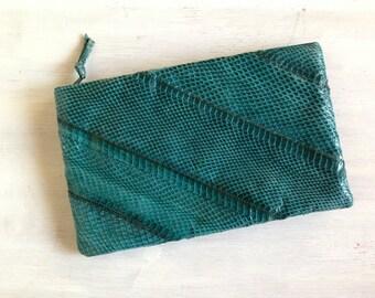 Rich Forest Green Clutch Purse / Vintage 80s Snake Skin Clutch