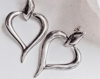 Sterling Silver Heart Earrings, Silver Heart Earrings, Vintage Earrings, Drop Heart  Earring, Pierced Heart Earrings, Sweetheart Earrings,