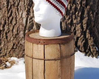 Wool Beanies, Wool Hats, Mans Wool Hat, Wool Beanies for Men, Crochet Wool Beanie, Burgundy Wool Hat, Red Wool Beanie, Red Stripe Beanie