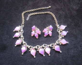 Pink and Lavendar Thermoset Necklace and Earrings