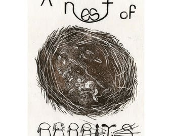 A Nest of Rabbits Linocut - Terms of Venery, Collective Noun for Animals, Typography, Lino Block Print Cute Rabbits, Bunnies, Hares