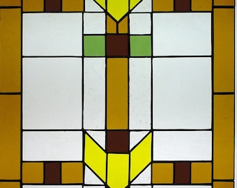 """Stained Glass 20-7/8 X 34-7/8 """"Mission Style Contemporary"""" Pattern PDF B&W Digital Download"""