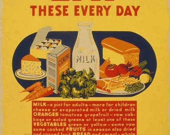 Eat These Every Day Poster - Vintage Print Art - Home Decor - Kitchen Art - Food Poster