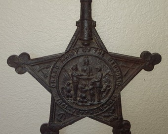 RARE 2 Prong CIVIL WAR Flag Holder Marker Grand Army of the Republic 1861-1866