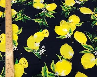Cotton fabric with lemons/blue cotton with lemons print.