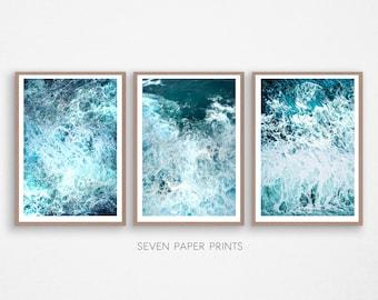 Ocean Poster Decor, 3 piece decor, Ocean Art Print, Ocean Wave Print, Water Beach Decor, Coastal, Water Instant Download, 3 Piece Wall Art