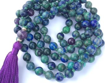 Azurite & Amethyst Mala Beads knotted sterling silver accents silk tassel 108 crystal beads
