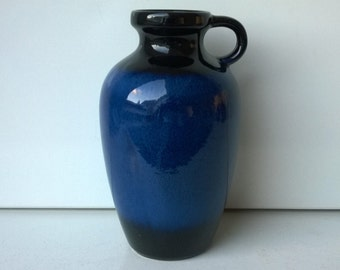 Jasba Keramik, Handled Vase, Nr 1227 20, Blue, Black, West German Pottery, 1960s