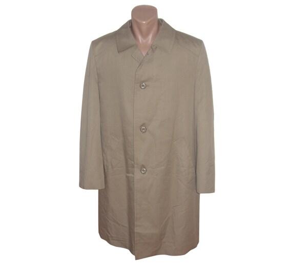 Mens Coat Valmeline Men Vintage Removable Lining Metal Zipper Beige OPvG49Rh