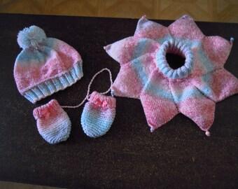 set hat, scarf, mittens, baby 12 / 18 months