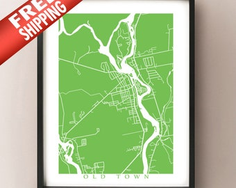 Old Town Map Print - Maine Poster