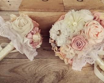 wedding bouquet set, bridal bouquet, bridesmaids bouquet, blush bouquet