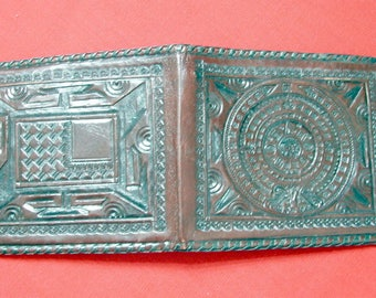 Vintage Embossed Bifold Leather Wallet, Brown, Mexico