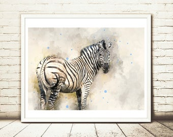 zebra art, Zebra print, zebra wall art, zebra watercolor, zebra painting, zebra gift, watercolor animal, watercolor art, watercolor zebra