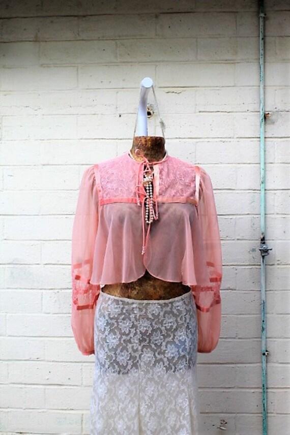 Vintage Pretty Pink Jacket/Chiffon jacket/Peach Jacket/Carrie Diaries/Molly Ringwald/Madonna/blush Jacket/Hipster/Retro Jacket/Punk Jacket