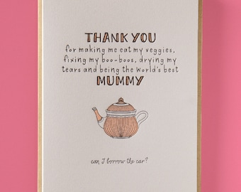Thank you mummy Letterpress Mother's Day Card