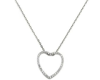 Open Heart Necklace - Heart Zirconia Necklace - Sterling Silver Necklace Jewelry AB316