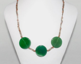 "Smoky Quartz Necklace with Green Agate Coins ""Green with Envy"""
