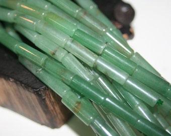 SALE - Natural Bamboo Shoot Green Aventurine Tube Beads - 17mmx5mm- 10pcs
