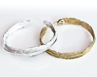 Feather Bracelet - Brass and White Brass - Feather Tribe