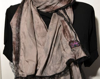 grey scarf, silk