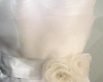 Organza Peony Two Flowers Wedding Dress Bridal Sash Belt