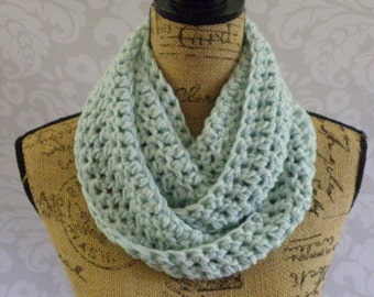 Ready To Ship Infinity Scarf Crochet Knit Glacier Ice Blue Women's Accessories Eternity Fall Winter