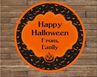 Personalized Halloween Stickers    Pumpkin Stickers      Halloween Favor Tags   Halloween Treat Bag Tags