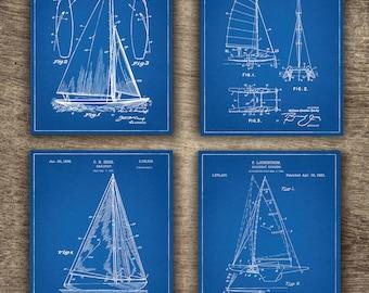 Nautical blueprint etsy blueprint sailing boat patent set of 4 prints blueprint ship patent blueprint boat art malvernweather Images