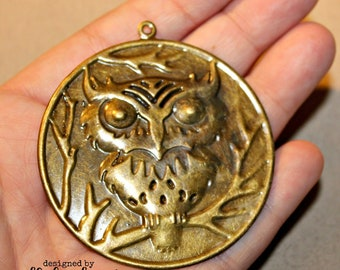 Owl Pendant, Embossed, Iron, Antique Bronze Color, 2 1/4 inches, 1 piece