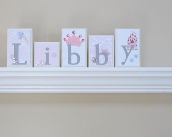 ROUTED EDGE Personalized Boutique Custom Girls Baby Child Name Wood Block Letters -- Nursery -- Princess -- Pink White Purple Gray