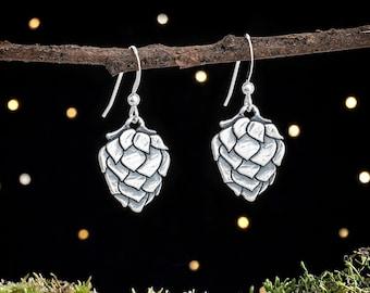 Sterling Silver Hop Flower Earrings - Beer Lover Gift