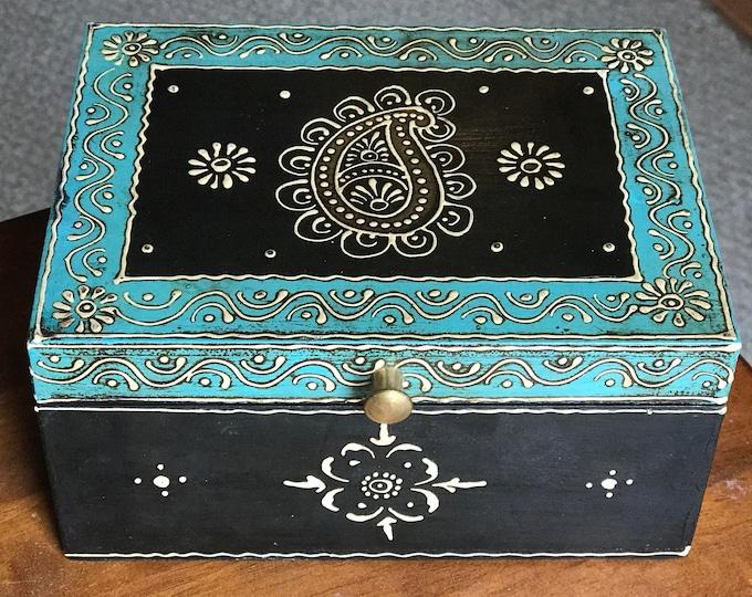 Teal Keepsake Jewelry Treasure Trinket wood box from India for women, indian wedding gift, diwali gift, men's watch, wallet, keys organizer