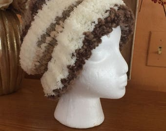 Beige and taupe mixed fiber knitted hat