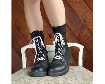 Black Leather Mid Calf Combat Boots - Vintage 90s - 6.5 womens