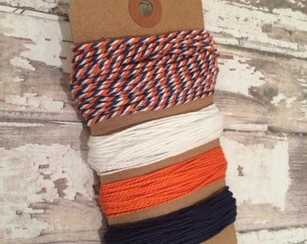 20 Yards of Baker's Twine, Nautical Combo, Orange, Navy Blue and White Solid and Traditional Nautical/Sailor Baker's Twine