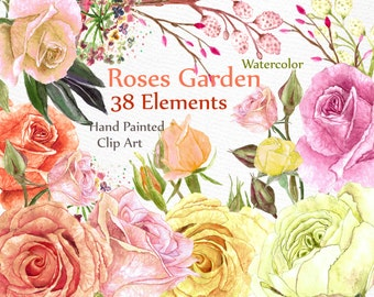 """Wedding Watercolor Flowers: """"ROSES CLIPART"""" floral clipart Diy clipart wedding invites handpainted separate flowers watercolor clipart"""