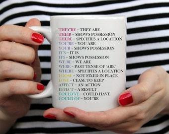 Grammar Mug. Ceramic Mug Gift. Coffee Cup. Tea Drinkers Gift. Coffee Lovers Gift. Grammar Gift, Grammar Police